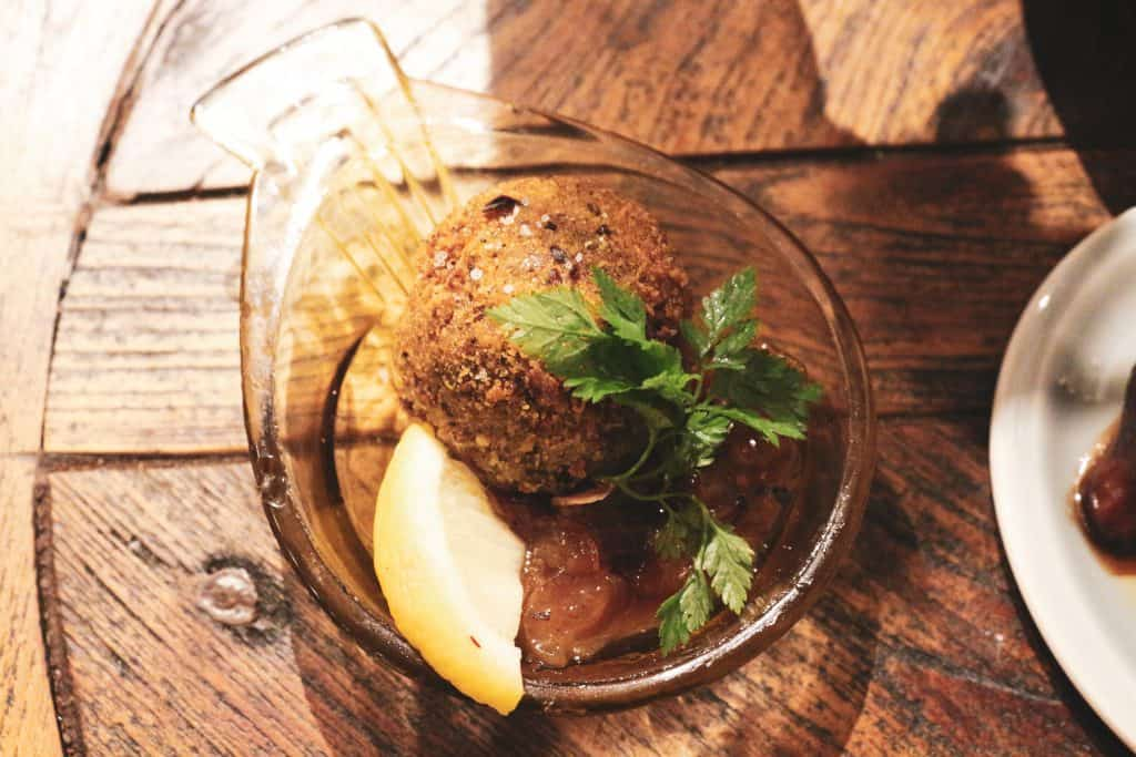 beef shank croquette served with a homemade chutney