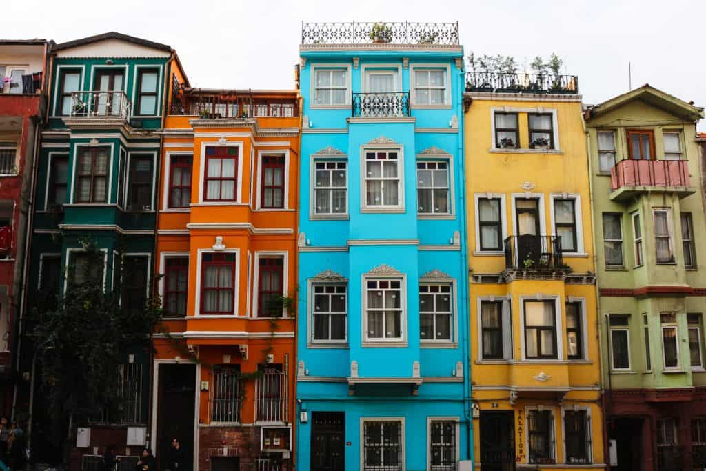 Beautiful houses in the quarter of Fener, in Istanbul